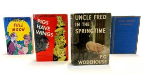 Four covers of P.G. Wodehouse books