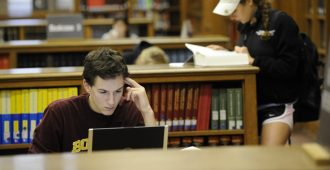 students studying in the libraries
